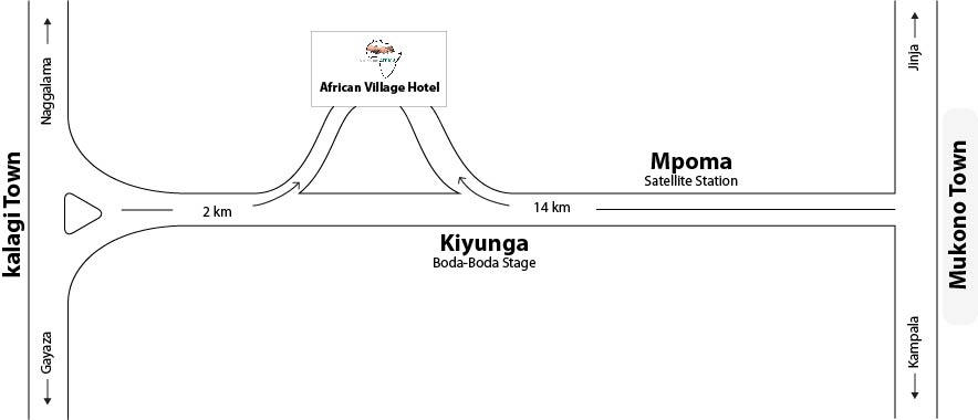 map indicating routs from kampala to African Village Hotel